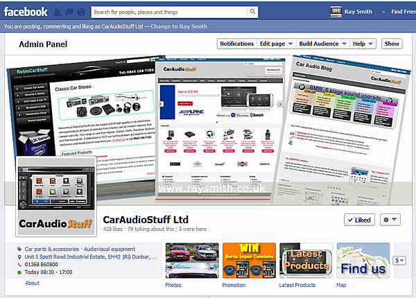 An example of a FaceBook business page