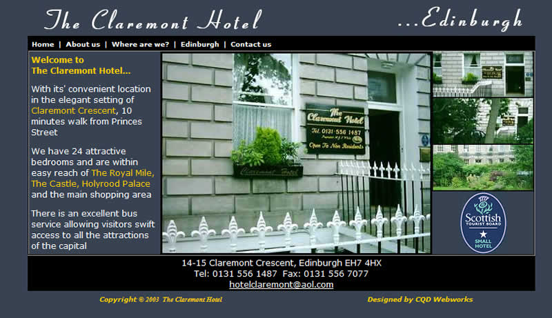 Claremont Hotel old website