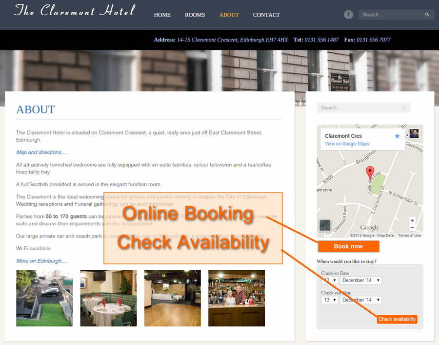 booking buttons on Claremont Hotel