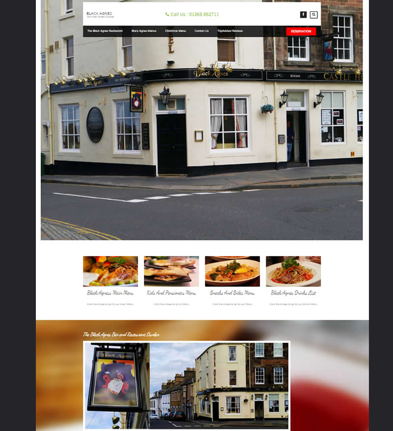 The black agnes restaurant web design