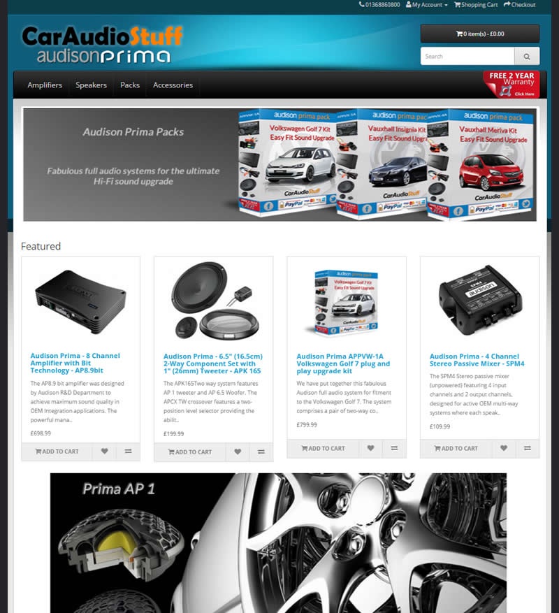 Audison Prima website